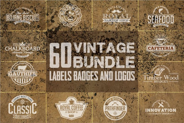 60 Vintage Bundle Logos Labels & Badges