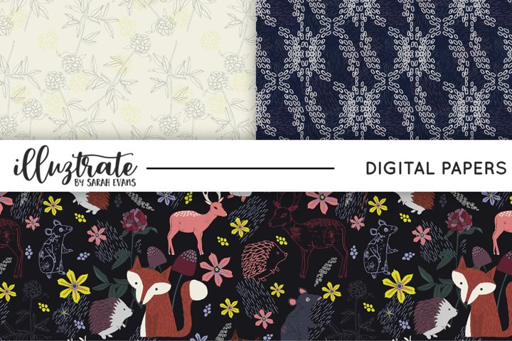 Animal Forest Patterns | Seamless Digital Papers