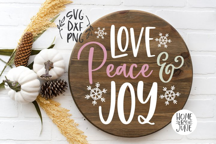 Love Peace & Joy Round/Circle Christmas Sign Decor