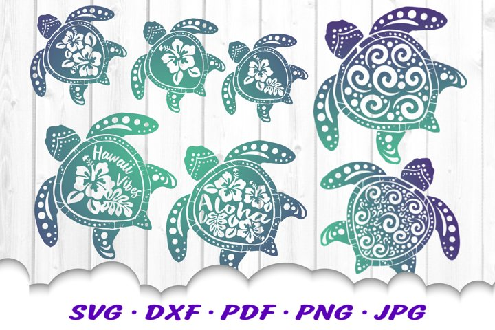 Hawaii Hibiscus Spiral Sea Turtle SVG DXF Cut Files Bundle