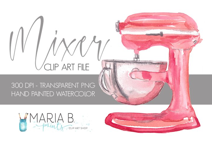 Red Stand Mixer Baking Watercolor Clip Art PNG