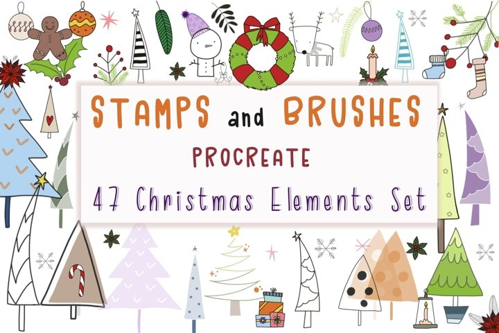Stamps and Brushes Procreate 47 Christmas Elements Set Brush
