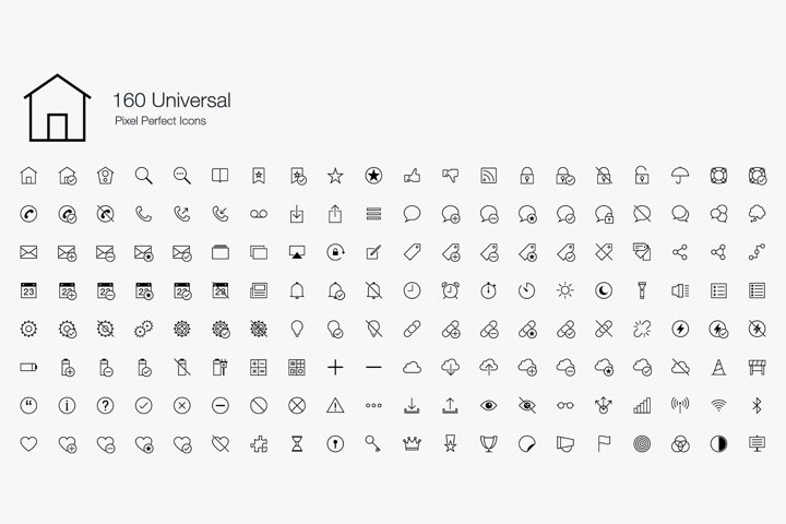 Universal Essential Basic Common Web Pixel Perfect Icons