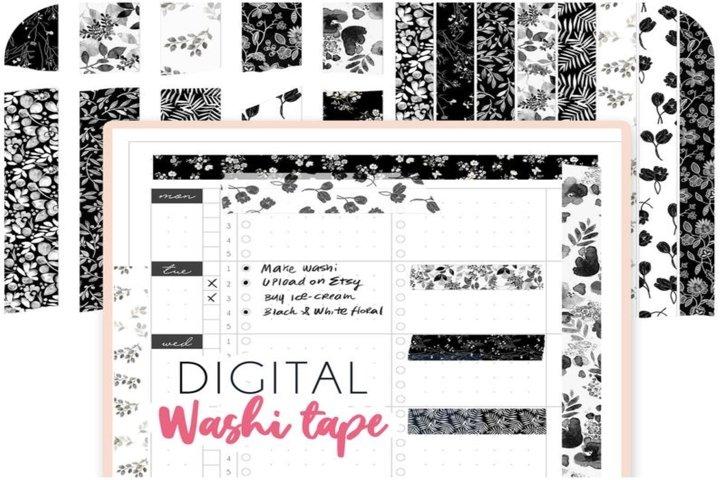 Black Floral digital washi tape for GoodNotes - Stripes