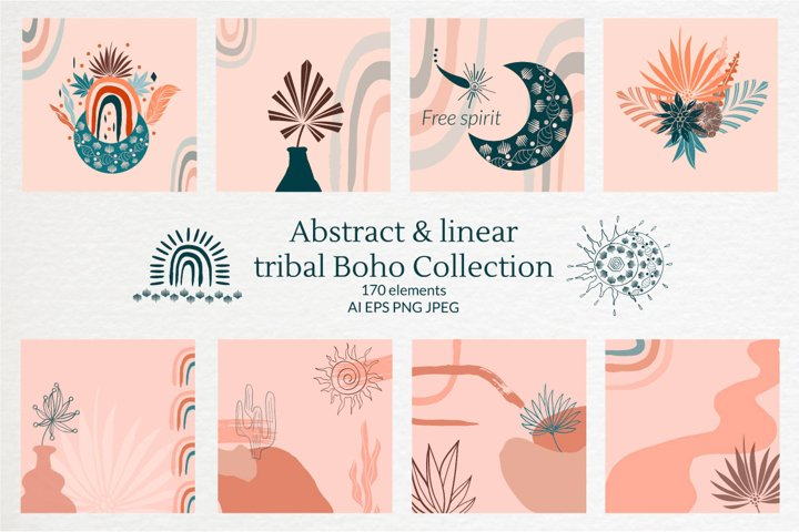 Boho Clipart, Modern abstract linear tribal Collection