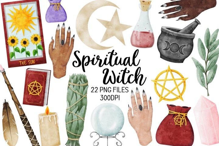 Spiritual Witch Watercolor Clipart - Magic Clipart