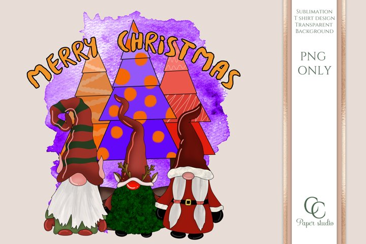 PNG - Gnomes sublimation design - Merry Christmas