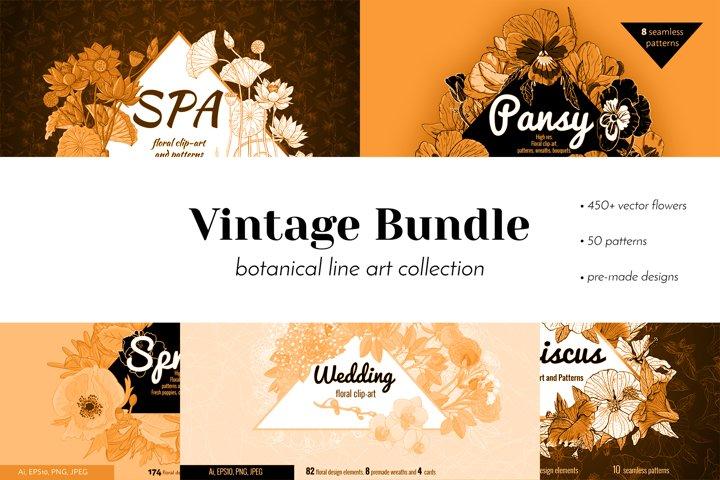 Vintage Floral line art BUNDLE