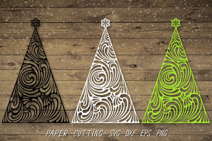 Christmas Tree SVG,Paper Cut Template SVG,Tree Silhouette