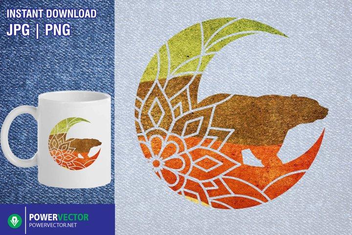 Mandala moon png, Floral bear sublimation printable design