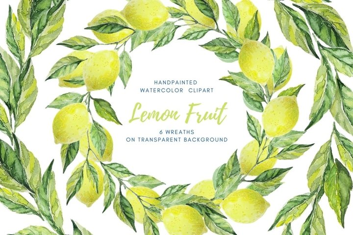 Watercolor wreath clipart. Lemon fruit and leaves wreath set