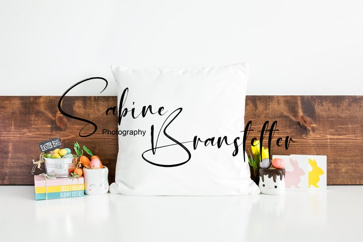 Mockup - White Square Pillow With Easter Decor Photography