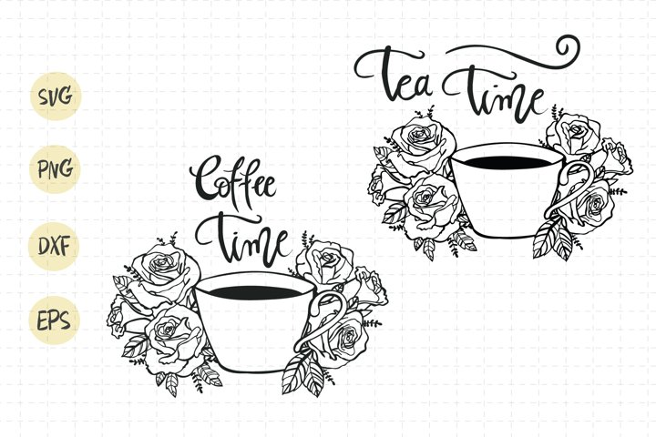 Tea cup svg / coffee cup flower / tea cup