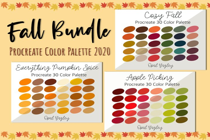 Fall Autumn Color Bundle / 90 Color Swatches for Procreate
