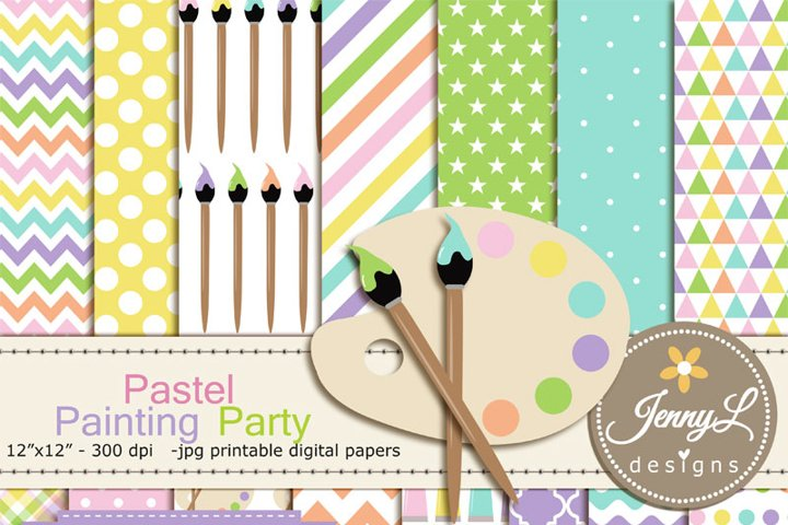 Pastel Painting, Art, Digital Paper and Clipart, Easel, paint tube, brush, palette Clipart ART