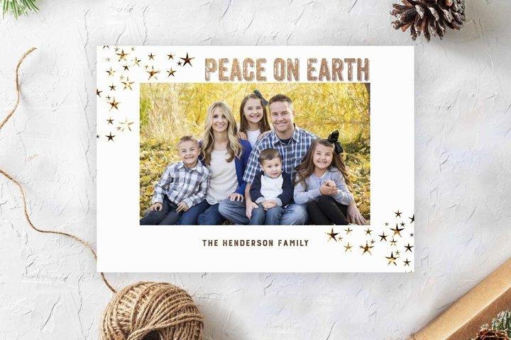 Peace On Earth Christmas Photocard Template