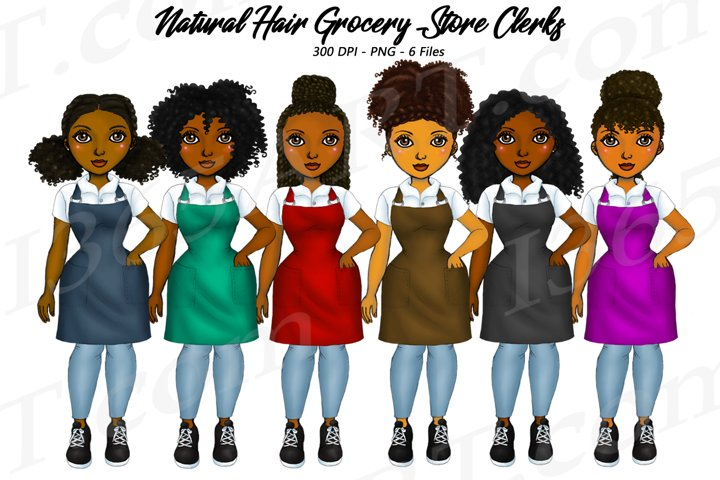 Grocery Store Clerks Clipart, African, Natural Hair PNG
