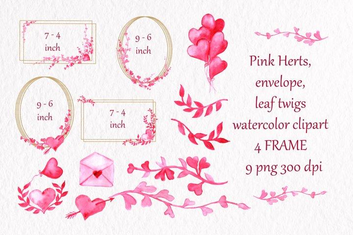 Watercolor frame clipart golden frame pink leaf gold frame