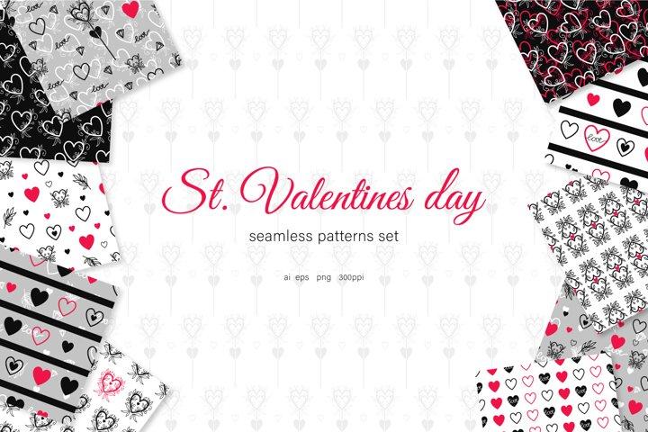 St. Valentines Day seamless patterns set