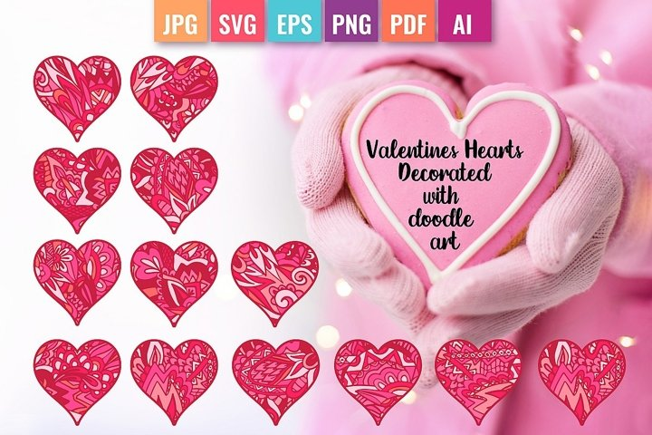 Valentine Hearts Decorated with Doodle art, sublimation file