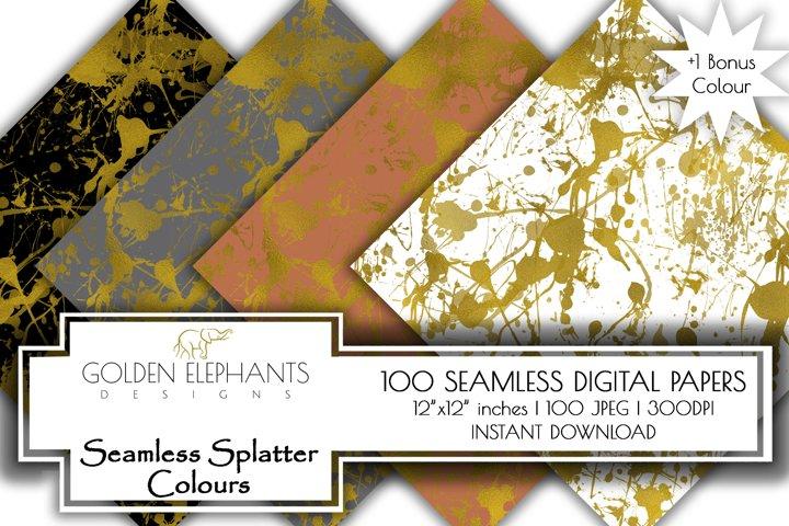 100 Gold Foil Effect Seamless Splatter Digital Paper