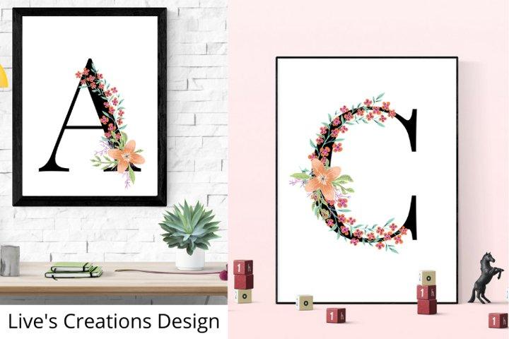 Flower letter, Initial wall art, nursery room, monogram