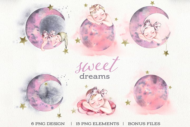 Cute watercolor clipart newborn baby, moon and stars.