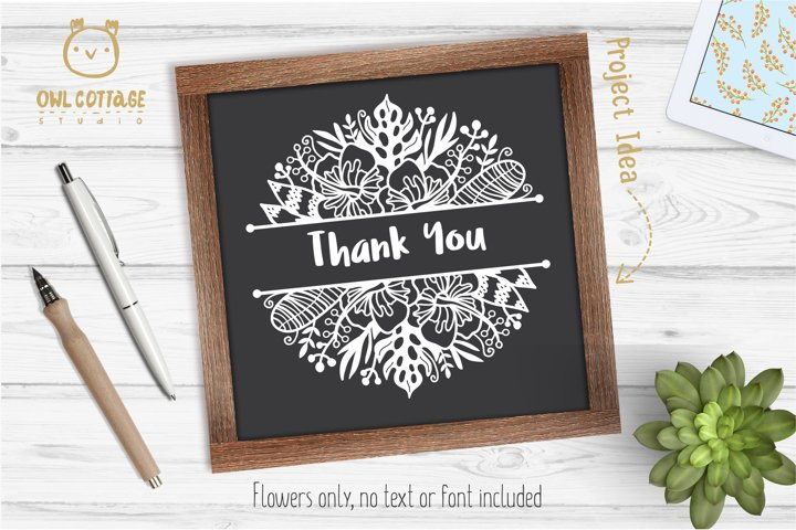 Tropical Border SVG, Luau Decor SVG File, Wedding Flowers example 3