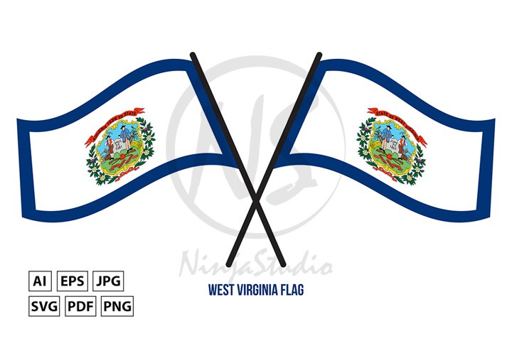 Two Crossed Waving West Virginia Flag On Isolated
