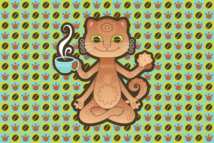 Coffee cat and yoga