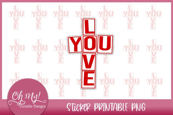Love You Sticker Printable PNG