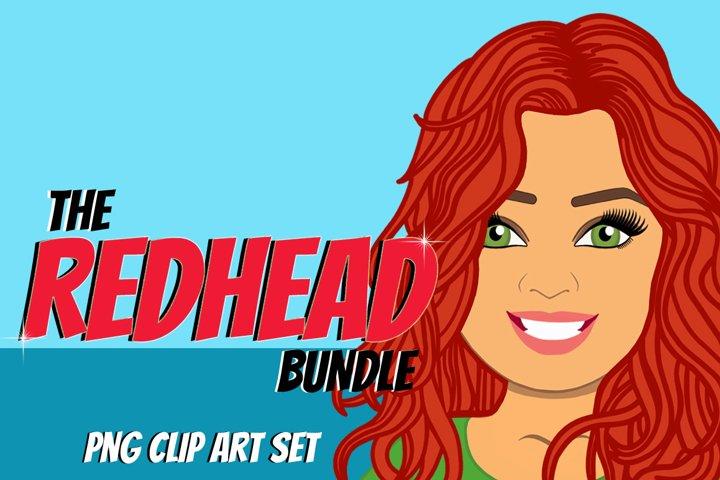 Redhead Woman Clip Art Bundle | Female Avatar | Graphic