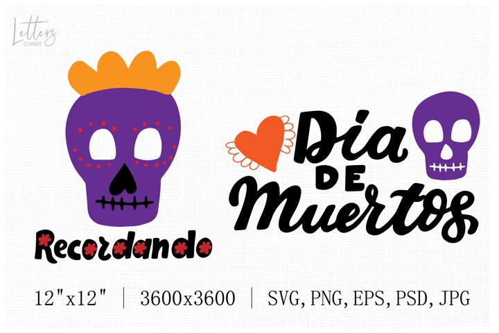 Purple sugar skull svg hand lettering phrases Dia de Muertos