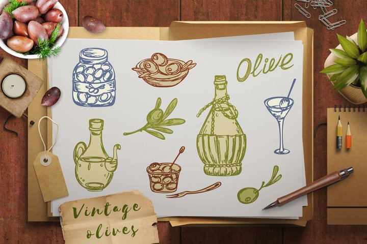 Set of Vintage Olives