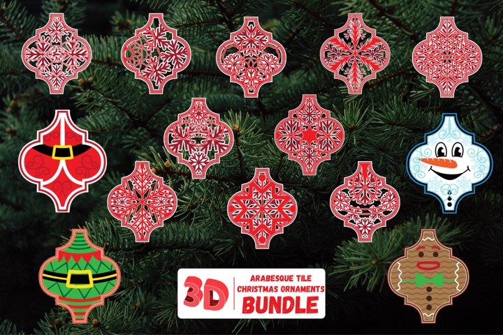3D Arabesque SVG Bundle | Christmas Ornaments Multi Layerer