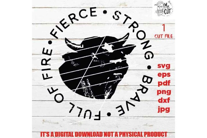 bull cattle svg file, cows strong brave fierce SVG Cut file,