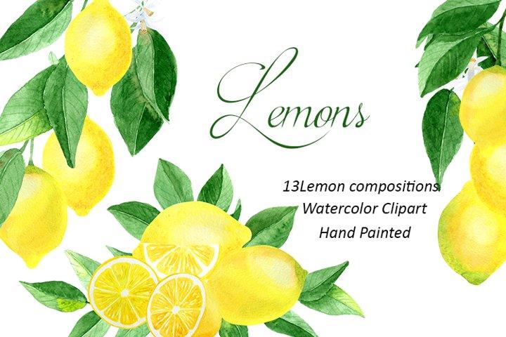 Watercolor Lemon Clipart Citrus Clipart. Yellow summer fruit