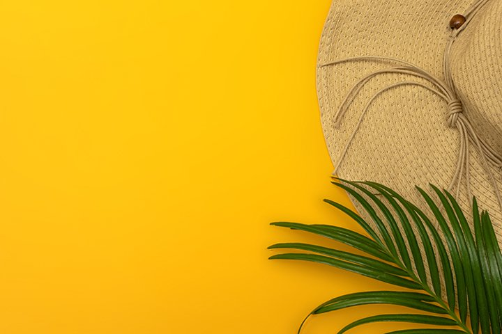 Hat and a palm branch on a yellow background.