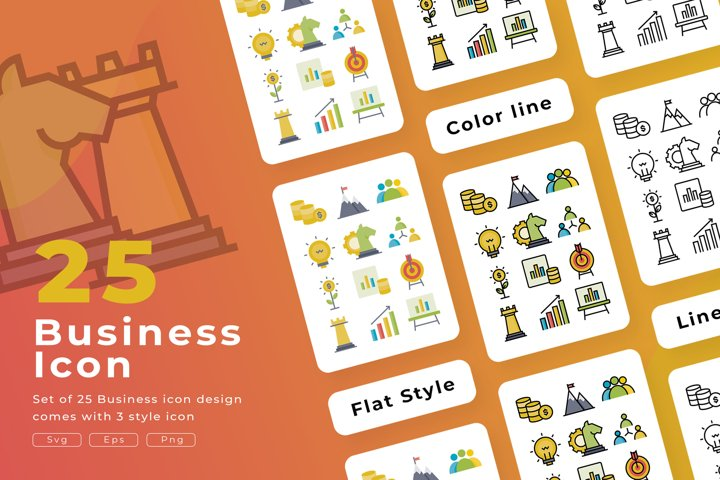 Set of 25 Business icon with 3 stye design