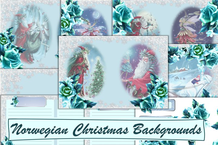 Norwegian Christmas Santa Backgrounds Journal Pages
