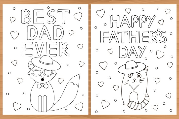 Fathers day. 4 Printable coloring pages. Best dad ever.