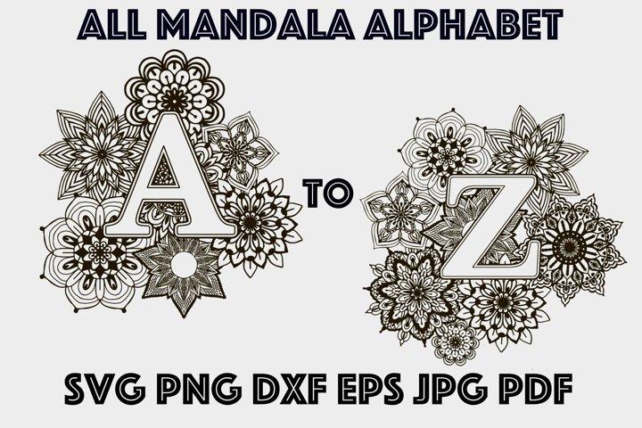 Big Mandala Alphabet Bundle SVG Mandala SVG PNG DXF PDF