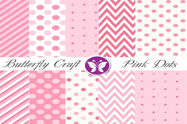 Pink dots digital paper, Polka dots and stripes