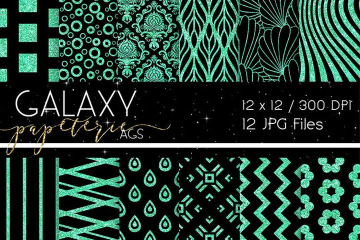 Black and Mint Glitter Digital Papers - Patterns