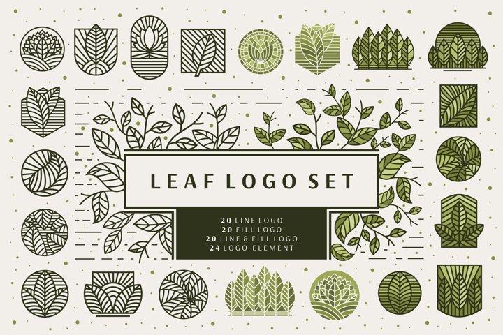 Logo Design Line Leaf
