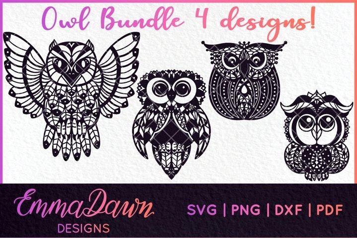 OWL SVG BUNDLE MANDALA / ZENTANGLE 4 DESIGNS