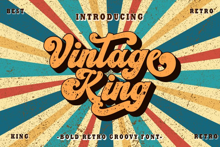 Vintage King - Retro Groovy Font
