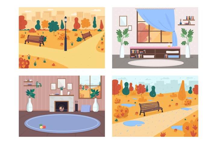 Fall in city flat color vector illustration set
