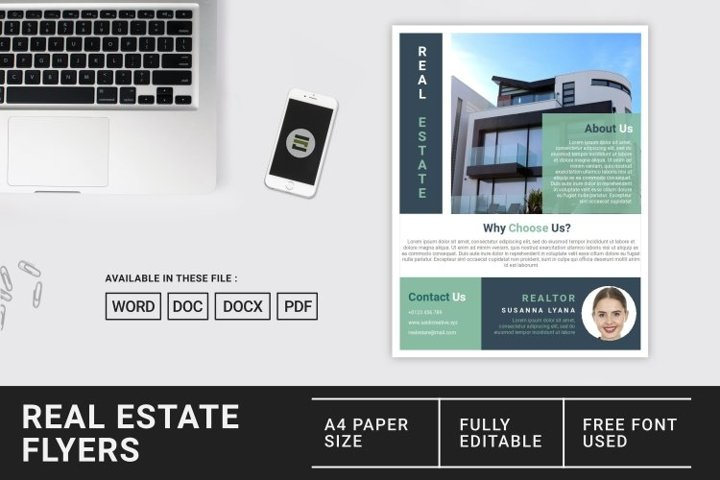 Real Estate Flyer Template Microsoft Word Document File