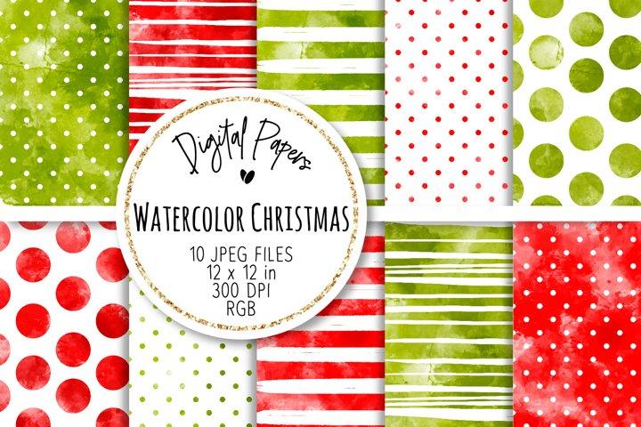 Watercolor Christmas Digital Papers Set